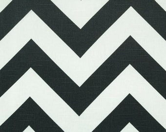 LARGE CHEVRON RUNNER- Large Zigzag, charcoal grey and white zig zag, Table Runner, Chevron