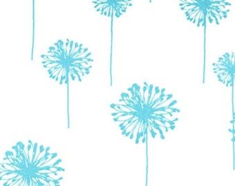 TABLE RUNNER DANDELIONS aqua lt turquoise flower dandelions on white and table runner