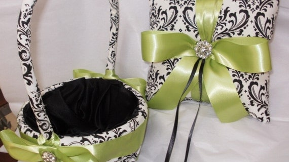 DAMASK PILLOW or BASKET Ring Bearer Pillow and Flower Girl Basket Madison Lime Green Chartreuse or Your choice of Ribbon