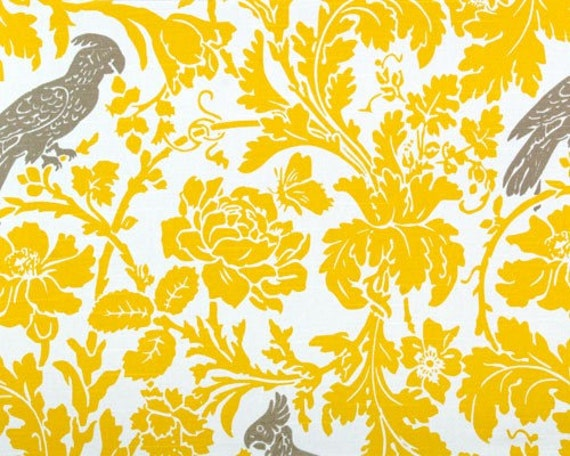 Gray polka dot curtains - Damask Runner Yellow White Leaf Flower Damask Table Runner With Taupe