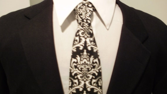 MEN'S DAMASK NECKTIE and Pocket Square Hanky Tie Set- Madison White on Black  Wedding PartyTie