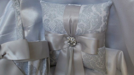 LAST ONE- Damask Pillow Only - Was 24.95 Platinum Silver Metallic Damask on White with silver ribbon or your choice of ribbon color