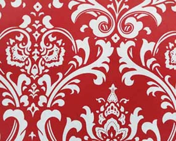 "SAMPLE SALE- RUNNER 27"" Osborne White Damask on Red Table runner damask runner"