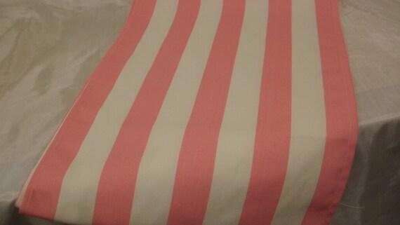 PINK STRIPE RUNNER-- medium pink and white striped table runner Bridal, Decor, Baby's Room