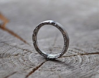 Sterling Silver Rough Edge Band 3mm width