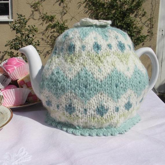 Duck egg blue fairisle tea cozy