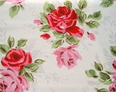 2614 - Cath Kidston English Rose on White Cotton Canvas Fabric - 57 Inch (Width) x 1/2 Yard (Length)