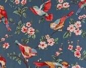 2896 - Cath Kidston British Birds (Dark Blue) Oilcloth Waterproof Fabric - 28 Inch (Width) x 17 Inch (Length)