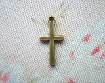 12pcs 9x18mm antique bronze cross charms pendants (J4)