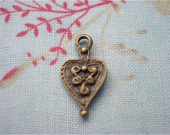 8pcs 10x19mm antique bronze heart charms pendants (J5)