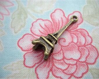 6pcs 8x23mm antique bronze eiffel tower charms pendants (J21)