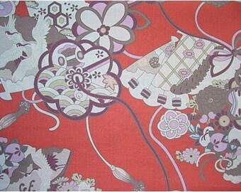 2252 - Japanese Kimono Crane Floral Cotton Fabric - 58 Inch (Width) x 1/2 Yard (Length)