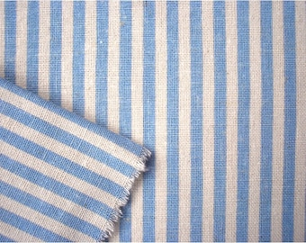 2347 - Japanese Blue Stripes Cotton Linen Blend Fabric - 57 Inch (Width) x 1/2 Yard (Length)