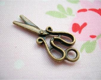 5pcs 12x28mm antique bronze scissors charms pendants (J226)