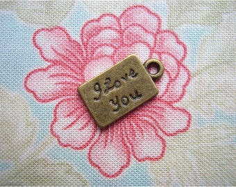 10pcs 9x16mm antique bronze I LOVE YOU charms pendants (J13)