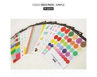 Set of 10 Sheets Deco Label Scrapbook Stickers (P15)
