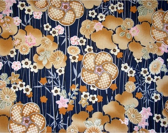2411 - Japanese Kimono Bamboo Cherry Blossom Chrysanthemum Floral Cotton Fabric - 43 Inch (Width) x 1/2 Yard (Length)