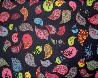 2043 - Colorful Birds Waterproofer Fabric - 58 Inch (Width) x 1/2 Yard (Length)