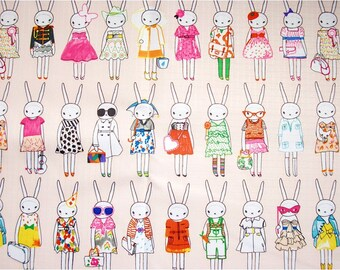 1976 - Fifi Lapin Bunny Rabbit Waterproof Fabric - 58 Inch (Width) x 1/2 Yard (Length)