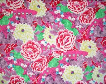 2269 - Japanese Kimono NAOMI ITAYA Peony Floral Chirimen Crepe Fabric - 43 Inch (Width) x 1/2 Yard (Length)