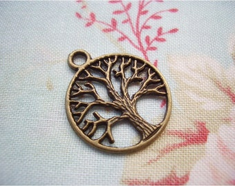 5pcs 20x24mm antique bronze tree charms pendants (J285)