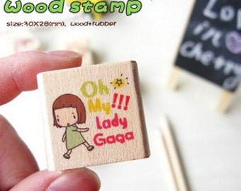 Girl Wooden Rubber Stamp  (P103.1 - Oh My Lady Gaga)