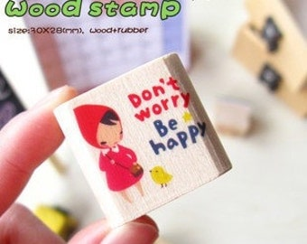 Girl Wooden Rubber Stamp  (P103.2 - Don't Worry, Be Happy)