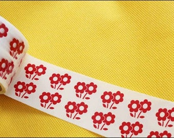 Scrapbook Sticker Adhesive Deco Tape (Red Flowers - No.29)