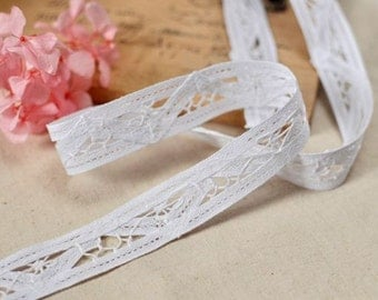 2.3cm x 1yard (white) cotton lace trim (S398)