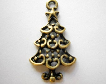 6pcs 12x22mm antique bronze pine charms pendants (J289)