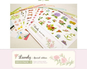 Set of 8 Sheets Country Style Daily Deco Stickers (P135)