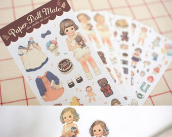 Set of 6 Sheets Paper Doll Mate Deco Stickers (P138)