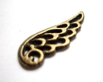 7pcs 9x24mm antique bronze wing charms pendants connectors (J301)