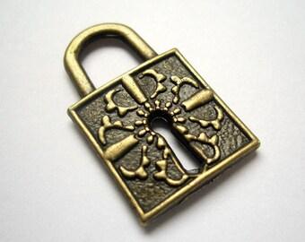 2pcs 16x26.5mm antique bronze lock charms pendants (J311)