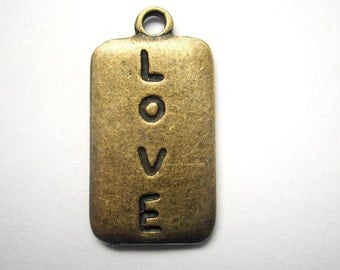 4pcs 13x25mm antique bronze LOVE charms pendants (J318)