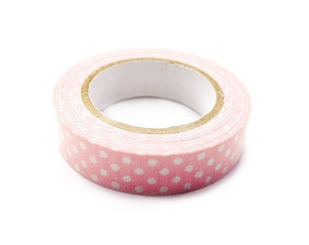 Cotton Fabric Adhesive Deco Tape (P72.12 - White on Light Pink Polka Dot)