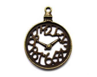 3pcs 28x37mm antique bronze clock pocket watch charms pendants (J347)