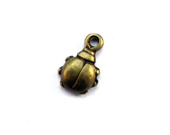 10pcs 6.5x10mm antique bronze ladybug charms pendants (J376)