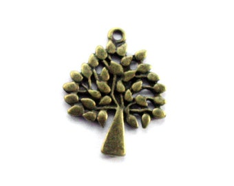 3pcs 23.5x29mm antique bronze tree charms pendants (J391)