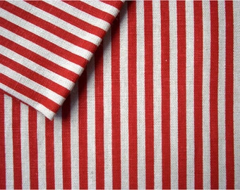 2346 - Japanese Red Stripes Cotton Linen Blend Fabric - 57 Inch (Width) x 1/2 Yard (Length)