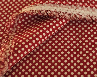 2817 - Japanese Polka Dots on Red Cotton Linen Blend Fabric - 57 Inch (Width) x 1/2 Yard (Length)