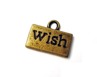 8pcs 12.5x10.5mm antique bronze wish charms pendants (J419)