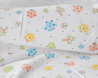 2999 - Bird in the Forest Cotton Jersey Knit Fabric - 67 Inch (Width) x 1/2 Yard (Length)