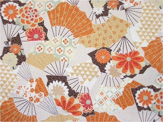 2293 - Japanese Kimono Floral Fan Cotton Fabric - 43 Inch (Width) x 1/2 Yard (Length)