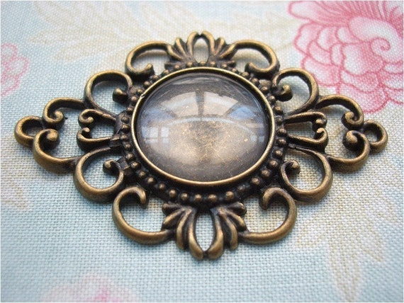 2pcs 52x36mm antique bronze scrolled filigree cameo bases bezels settings pendants with FREE 18mm glass cabochons (J143)