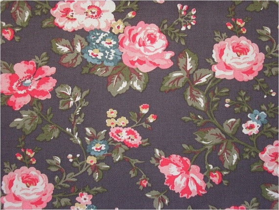 2309 - Cath Kidston Winter Meadow (Dark Brown) Cotton Canvas Fabric - 59 Inch (Width) x 1/2 Yard (Length)