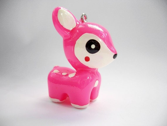 Kawaii 25x35mm hot pink fawn pendant charm (J252.3)