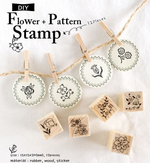 Easy DIY 12pcs Wooden Rubber Stamps Cardboard Box Collection (P93.4 - Flower)