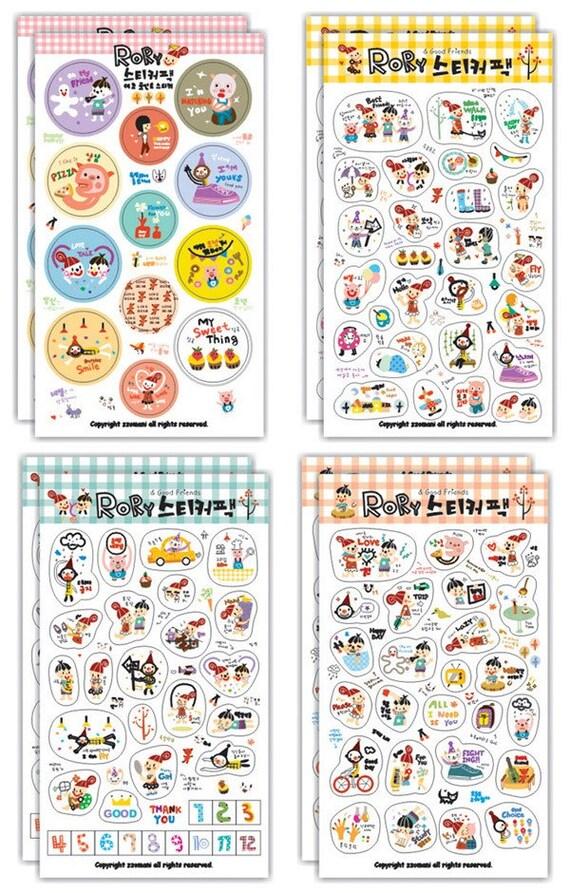 Set of 8 Sheets Transparent Deco Stickers (P97.1 - Rory)