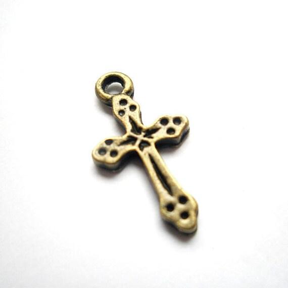 12pcs 10.5x19.5mm antique bronze cross charms pendants (J298)